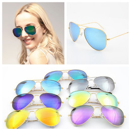 Wholesale Cheap Round Framed Glasses - Cheap Branded 58mm Metal Frame Men's   Women's Sunglasses Colorful Flash Lens Sun Glass 50 PCS YYA393