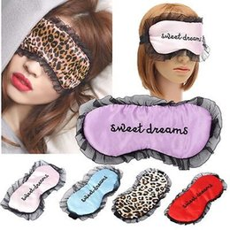 Wholesale Leopard Half Face Mask - Wholesale- 2016 New 3D Eye Mask Sponge Soft Cover Travel Sleep Blinder Rest Mask Lace-up Leopard Solid Color For Party