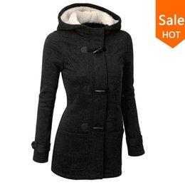 Wholesale Design Women Winter Coat - Wholesale- Autumn Hooded Horn Button Coat Women Winter Parkas Grey Outwear 2016 New Fashion Long Women Overcoat S-XL