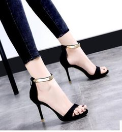 Wholesale Sexy Black Leather Straps - 2017 summer new black fine with open toe sandals wild high heels sexy shoes wave