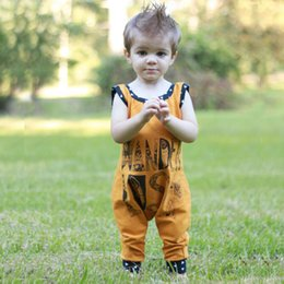 Wholesale Baby Girls Rompers Kids Tutu - 2017 Cute Baby Clothing Romper Sleeveless Cotton Letters Printed Jumpsuits Boys One-piece Infant Kids Rompers Yellow 70 80 90 100 A7154