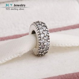 Wholesale Silver Core Charms - Wholesale-Clear Zircon Pave Sparkling Spacer Charm With Screw Thread Core 925-Sterling-Silver Jewelry Stopper Fit European Brand Bracelet