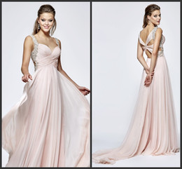 Wholesale Top Gown China - Chiffon Gown Fashion Sweet Elegant Women Dress Cheap Beaded Backless Long Formal Wear Wonderful Imported In China Party Dresses Top Prom
