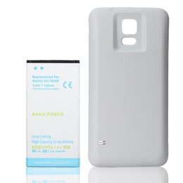 Wholesale Bateria Galaxy - 7000mAh High Capacity Li-ion Extended Replacement Battery For Samsung Galaxy S5 i9600 Bateria + White Cover Case
