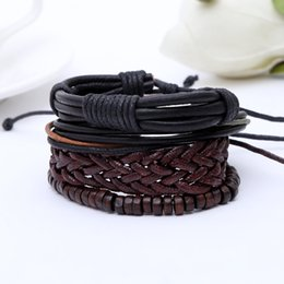 Wholesale Braided Bead Cord Bracelet - 2017 hot 4 pcs as a set multilayer weave bracelet and braided rope cord bangle abacus beads bangle