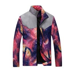 Wholesale Galaxy Jackets - 2018 Spring New Galaxy Space Men's Jackets and Coats Lightweight Windbreaker Skateboard Jacket Outwear Bomber Jackets