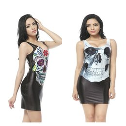 Wholesale Tank Dresses Punk - 9 colors 2017 New Gothic Style Punk 3D Printed Skull Tank Dress Very Well Stretchy Women's Black Sleeveless Bodycon Mini Dresse