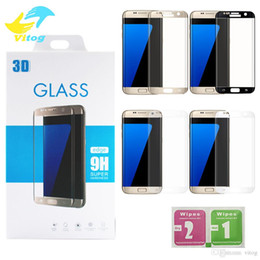 Wholesale Tempered Glass For S6 - For Samsung galaxy S6 edge plus S7 Edge S8 S9 plus Note8 9H 3d Curved Side Full Cover Tempered Glass Screen Protector with Retail package