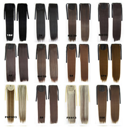 Wholesale Pony Tail Hair Extension Blonde - Wholesale-22inches 80g Women Long Straight Synthetic Hair Ponytail Ribbon Pony Tail Extensions Pieces 26 Colors Black Blonde Brown