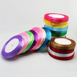 Wholesale Satin Ribbon Tape - 25 Yards Roll 10mm Width Colorful Silk Satin Ribbon Wedding Party Decoration Gift Craft Sewing Fabric Ribbon Cloth Tape DIY