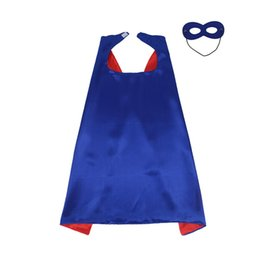 Wholesale Robin Halloween Costumes - Double sides kids Superhero Capes and masks Spiderman Flash Supergirl Batgirl Robin for kids capes with mask party costumes