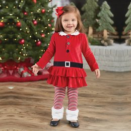 Wholesale Girls White Long Sleeved Dress - xmas girls red dress 2pc set christmas girls long sleeved dress & infant red white striped pants shorts outfits free ship 1-7years