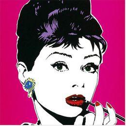 Wholesale Audrey Hepburn Decor - Framed Nice girl face,Pure Hand Painted Modern Wall Decor Audrey Hepburn Pop Art Oil Painting High Quality Canvas.Multi size a-mei
