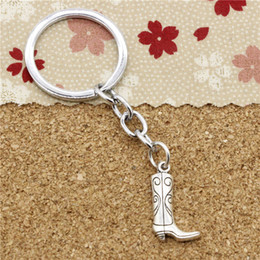 Wholesale Boots Ring - 15pcs Fashion Diameter 30mm Metal Key Ring Key Chain Jewelry Antique Silver Plated western cowboy boots 23*13mm Pendant