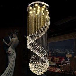 Wholesale Spiral Chandelier Light Crystal - Modern Chandeliers LED Crystal Chandelier Light Fixture Long Spiral Hotel Villa Home Indoor Lighting Living Room Lobby Parlor Hanging Lamps