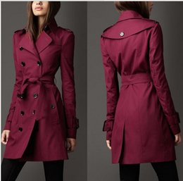 venta al por mayor chaqueta de mujer s peplum Rebajas 2018 Otoño Nueva Marca Mujeres Trench Coat Long Windbreaker Europa América Tendencia de moda Double-Breasted Slim Trench largo Q1534