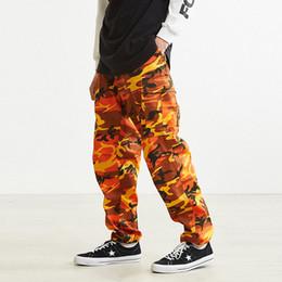 Rosa ladung hosen männer online-Orange Rosa Camouflage Cargo Pants Männer Frauen Hohe Qualität Hip Hop Streetwear Jogger Hosen Paar Camo Jogginghose Kleidung