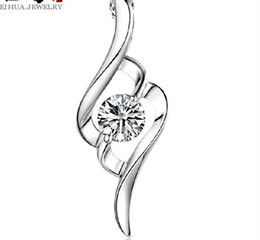 Wholesale Cheap Silver Heart Necklace - 925 Sterling Silver Pendant Necklace Austrian Crystal Love Heart Luxury Pendant Water Silver Cheap Wedding Jewelry for Women ( No Chain )