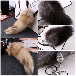 Wholesale Leather Key Chain Hook - Fur Fox Tail Hanging Ornaments Bag Key Waist With Keychain Handbag Bag Accessories Purse Key Chain Ring Hook Tassels Cosplay Toy C98L
