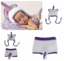 Wholesale Knitted Character Baby Hats - Baby Photography Props Crochet Knitted Baby Unicorn Outfits Sets Newborn Baby Photography Prop Crochet Hats Crochet Hats KKA3573