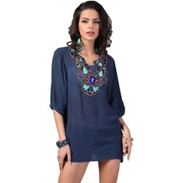 Wholesale Vintage T Shirts Wholesale - Wholesale-21 Styles New Arrived Plus Size Vintage Bohemian Handmade Embroidery Bead V Neck Summer T Shirt Women Top Blusas Femininas