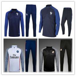 Wholesale Men S Printed Suit - 17-18 Top quality France soccer jackets uniforms sportswear 16 17 Men Training suit football Tracksuits jackets