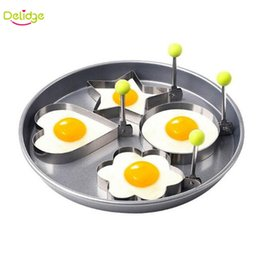 Wholesale Heart Shaped Omelette - 4 PCS lot Egg Molds Stainless Steel Star Flower Heart Circular Shapes Pancake Egg Rings Omelette Egg Mold Cute Breakfast Tools