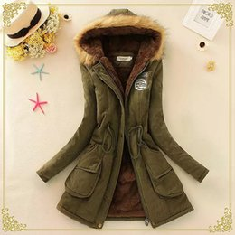 Wholesale Winter Coats For Ladies - Wholesale- Autumn Warm Winter Jacket Women Fashion Fur Collar Coats Jackets for Lady Long Slim Down Parka Hoodies Plus Size Bomber Parkas