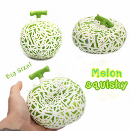 Wholesale Fruit Packaging Wholesalers - 2017 New 10PCS lot Jumbo Hami Melon Squishy Slow Rising Retail Package Phone Straps Charms Fruit Scented Pendant Bread Kid Toy Gift