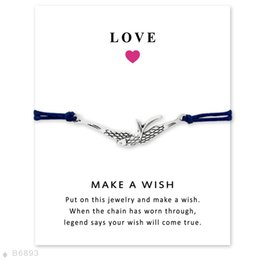 Wholesale Silver Tone Bird Charm - Silver Tone Swallow Bird Charm Bracelets & Bangles Gifts For Women Girls Adjustable Friendship Statement Jewelry With Card