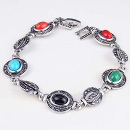 Wholesale Tibetan Wedding Jewelry - Antique Tibetan Silver Charm Bracelet Handmade Bracelets For Women Jewelry Fashion Accessory