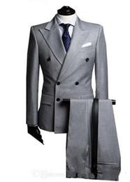 Wholesale Light Grey Suit Purple Tie - Double-Breasted Side Vent Light Grey Groom Tuxedos Peak Lapel Groomsmen Mens Wedding Tuxedos Prom Suits (Jacket+Pants+Tie)