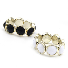 Wholesale Cuff Bracelet Gems - Wholesale-Sunshine adjustable fashion round black and white gem bracelets Adjust golden Bangle new jewelry for women gift hot sale