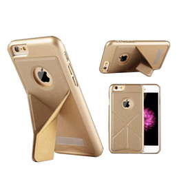 Wholesale Protection Transformer - For iphone6 6s 6 plus  7 7 plus case Multifunction 2 in 1 Kickstand Pure color Y type PU transformers mobile phone protection shell bracket