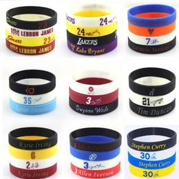Wholesale Star Silicone Bracelets - Promotion Wholesale 100pcs lot Silicone Wristband for Basketball All Star Jordan Bracelets Kobe LeBron Curry Silicone Bands