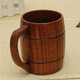 Wholesale Wood Barrels Beer - Classical Wood Work Wooden Beer Cup Mug 400ml For Gatherings Party Carnival Handmade Barrel Juice Beer Juice Drinking Cup