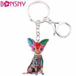 Wholesale Enamel Dog Charms - Bonsny Enamel Chihuahuas Dog Key Chain Key Ring Pom Gift For Women Girl Bag Pendant 2017 New Charm Key chain Fashion Jewelry