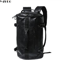 Wholesale Men Messenger Vintage - Wholesale- Y.ZHUO high quality leather man backpacks unisex vintage duffel bag large capacity shoulder Laptop bag men messenger travel bag