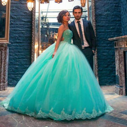 Wholesale Year 12 Formal Gowns - Crystal Beaded Top Ball Gown Formal Prom Dress Organza Ruffled Dress 15 Years Sweet 16 Mint Quinceanera Dresses