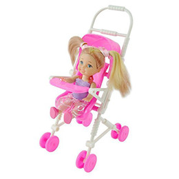 Wholesale Baby Toy Doll Stroller - Beautiful Pink Baby Stroller Infant Carriage Stroller Trolley Nursery Furniture for Barbie Doll Christm Toy Gifts for Baby Girls