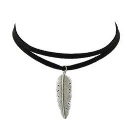 Wholesale Black Feather Choker - Black Pu Leather Feather Pendant Choker Necklaces