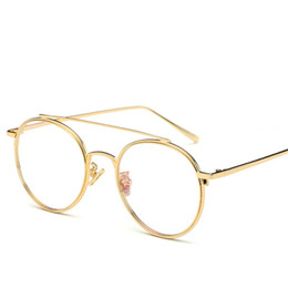 655958f0a50 Wholesale- Fashion Women Vintage eyeglass frame Brand Designer New Round  Metal Frame Glasses Twin-Beams Goggles Oculos MA310