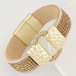 Wholesale Surfer Belt - Hot Sparkling Full Rhinestone Belt Buckle Wide Magnetic Leather bracelets & bangles Women Statement Surfer Bangle Gift