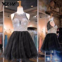 Wholesale White Bling Cocktail Dresses - Little Black Short Homecoming Dresses Bling Sparkly Crystals Beaded Tulle Mini Short Cocktail Party Gowns Graduation Dresses