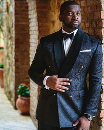 Wholesale Business Pants Suits - Black Jacquard Fabric Men Blazer Jacket Side Vent Groom Tuxedos Man Prom Business Suits (Jacket+Pants+Tie) K:34