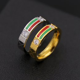Wholesale White Gold Enamel Rings - Top Quality 316L titanium Gear stainless steel With Enamel two colors line ring Men and Wonmen Ring designs Free Shipping PS4308