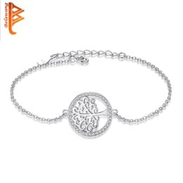 Wholesale Sterling Tree - BELAWANG Exquisite Workmanship Tree of Life Bracelet 925 Sterling Silver Adjustable Link Chain Bracelet For Household Fashion Gift