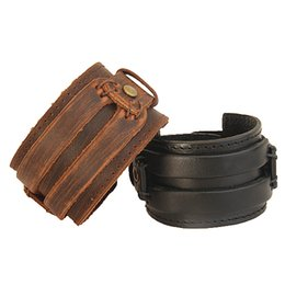 Wholesale Wholesale Vintage Wide Cuff Bracelets - Wholesale- Vintage Black Brown Leather Cuff Double Lines Button Wide Bracelet and Rope Bangle for Men Fashion Man Bracelets Unisex Jewelry