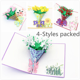 Wholesale 4 Packed pop up cards happy birthday decorations Gardenia Rose Lily Sunflower Gift Cards Greeting Cards for Congratulation