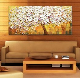 Wholesale Knife Oil Paintings - Tree with White Flower,Pure Hand Painted Modern Wall Decor Palette knife Pop Art Oil Painting On Quality Canvas.Multi customized size a-mei